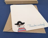 LIMITED Thanks Matey, pirate thank you cards, set of 8