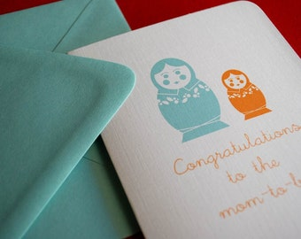 Mom to Be- nesting doll single greeting card