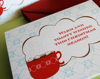 Warm and Toasty Wishes- Holiday cards, single card