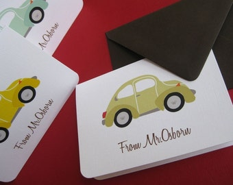 VW bug- set of 6 personalized stationery