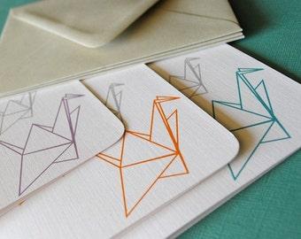 Paper Cranes- blank cads, set of 6