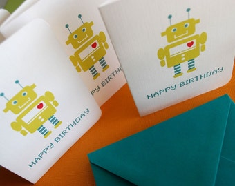 Robot Birthday cards in green, set of 60