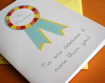 Number One Mom- single greeting card