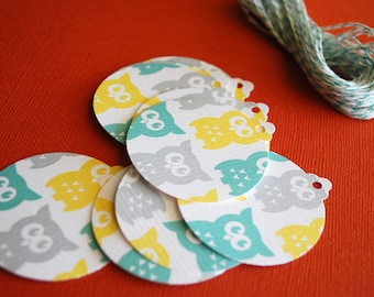 Owl gift tag set of 10