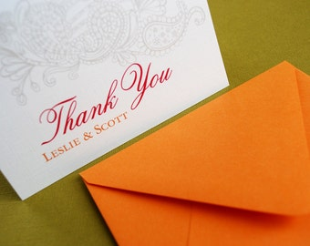 Vintage Garden, in orange- personalized thank you cards, set of 20