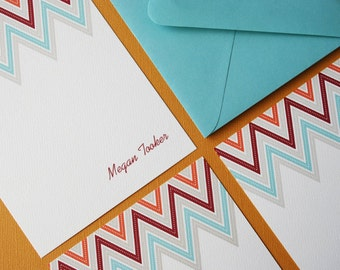 Zig Zag in blue- personalized stationery, set of 8