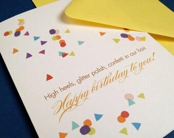 Confetti Birthday- single greeting card