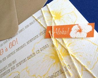 Vintage Hawaiian invitation, in orange, set of 10
