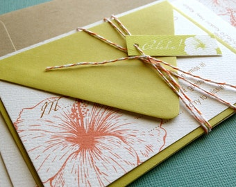 TWINE COLLECTION-  DEPOSIT Vintage Hawaiian invitation, orange and green