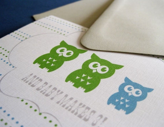 Makes 3- in blue... shower or birth announcement. set of 20