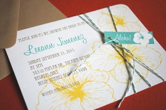 Vintage Hawaiian invitation, teal and yellow, set of 10