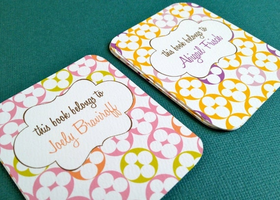 Blooms, set of 9 personalized bookplates