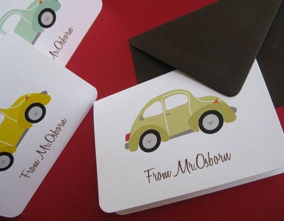 VW bug- set of 6 personalized stationery