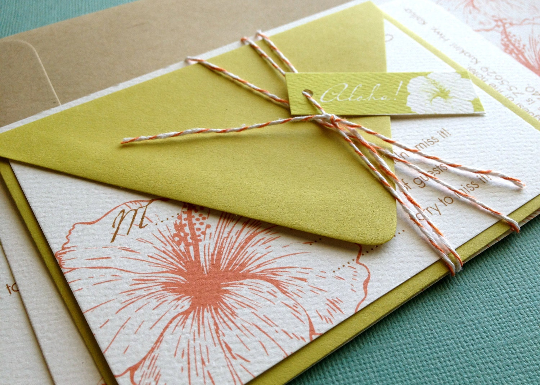 Orange And Green Wedding Invitations: Vintage Hawaiian Invitation Sample Orange And Green