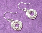 Silver Love Knot Chainmaille Earrings