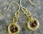 Mobius Love Knot Earrings in Gold with Topaz Brown Crystals