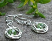 Mobius Love Knot Earrings with Swarovski Crystals in Peridot