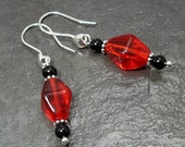 Transparent Red Glass & Black Onyx Earrings on Sterling Silver Ear Wires