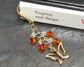 Butterfly Bookmark Hook with Orange Fire Opal Swarovski Crystals