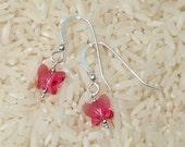Fuchsia Pink Crystal Butterfly Earrings on Sterling Silver Ear Wires