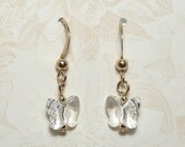 Crystal Butterfly Earrings on Gold Filled Ear Wires