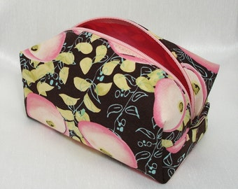 Boxy Cosmetic Tote -- Pink Flowers on Dark Chocolate
