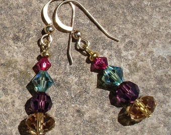 Crystal Color Stack Earrings on Gold Filled Ear Wires