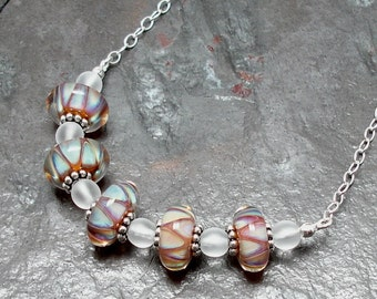 Boro Lampwork Art Glass Necklace Adjustable Sterling Silver Chain