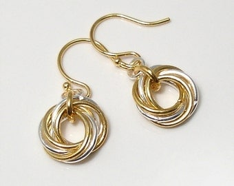 Mobius Love Knot Earrings in Silver and Gold