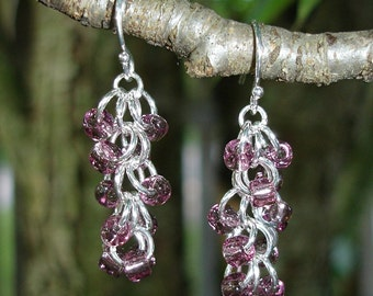 Shaggy Loops Chainmaille Earrings in Purple