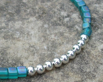 Teal Cube and Silver Seed Bead Friendship Bracelet with Heart Clasp