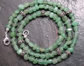 Aventurine Green Pebble Necklace -- After The Rain