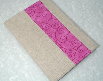 Linen Peek of Fuchsia Journal - Refillable Spiral Notebook Cover