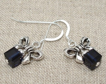 Crystal Cube and Bow Earrings -- Dark Blue on Sterling Silver Ear Wires