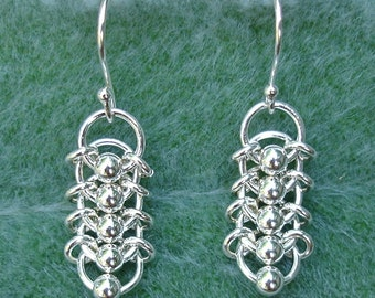 Centipede Chainmaille Earrings in Sterling Silver