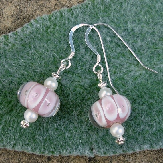 Pink Bubble Lampwork and Pearl Earrings on Sterling Silver Ear Wires