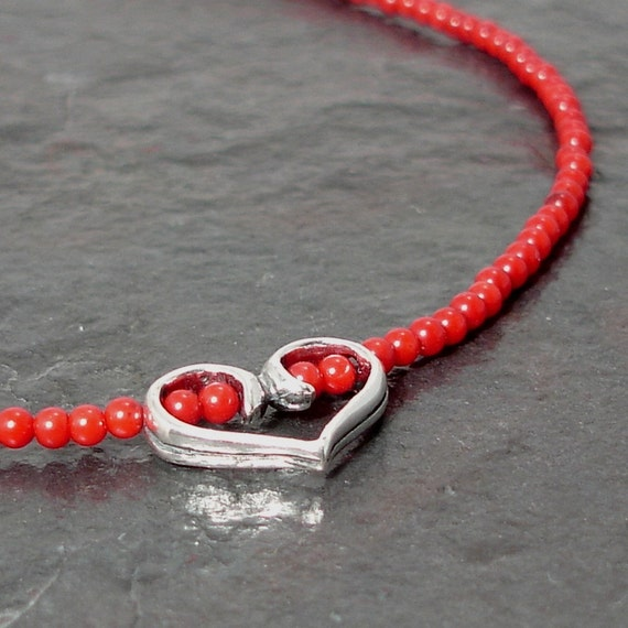 Coral and Sterling Silver Heart So True Necklace