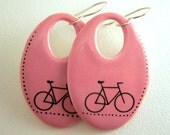 BICYCLE EARRINGS - porcelain - pink and black