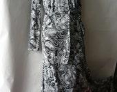 Vintage Diane Von Furstenberg Maxi Dress DVF Italy 4 6 8 Mod Cotton Small 70s Black White Mod print