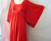 Vintage High Waist Maxi Dress sz 4 6 8 Bohemian BUTTERFLY Sleeves Small 60s 70s RED Empire Small