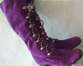 60s Mod Purple Hippie Boots 8 .5M Eur 39 UK 6  Italy Suede Leather Never Worn NWT