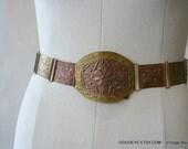 Vintage All Metal Belt BRASS COPPER Steam waist 26 to 34 inch