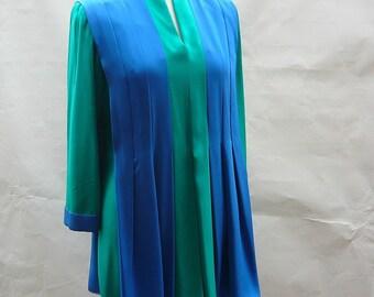 Vintage Bell Sleeve Mini Dress size 6 8 10 TUNIC Tent medium Blue Emerald Green 1980s BOHO