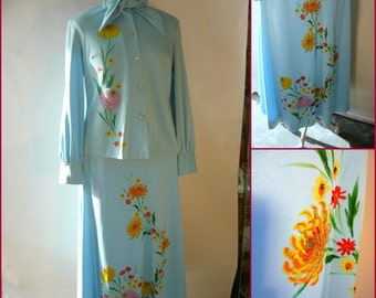 Vintage Hand Painted Maxi Skirt and Bowtie Blouse Top / size Small Medium / Sky Blue 1970s OOAK Rhinestones Ladies Suit