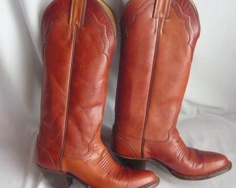 Very Fine Justin Cowboy Boots size 5 Leather  SKINNY Leg Eu 35 UK 2 .5 Rockabilly Western Hand Lasted