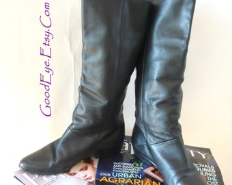 Vintage 80s Flat Slouch Pirate Boots sz 7 M Eur 37 .5 UK 4 .5 M  Cuff Pixie Black Slouchy Brazil