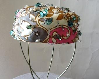 Vintage 60s Pillbox Cocktail Hat / Sequins BEADS Pearls Mod / SUZY MICHELLE Original Design / Flower Power Pastels Pink Blue White
