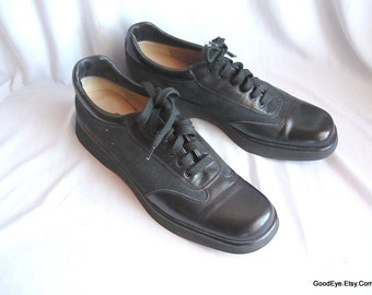 Vintage FERRAGAMO Wedge Oxford Shoes Size 9 Narrow Eur 40 UK 6 .5  Leather Canvas  ITALY Black Laceup Flats