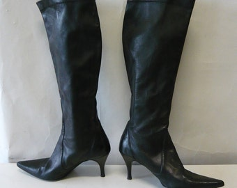 Vintage Cole HAAN Leather STRETCH Boots / Size 7 B Eur 37 .5 UK 4 .5 / Black Skinny High Heel  Pointed Toe /  Made in Italy 1990s