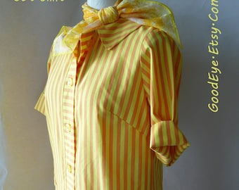 Preppy 60s Shift Dress size 6 8 10  Medium Yellow n Sherbert STRIPES Pockets Cuff Sleeves Alice of California